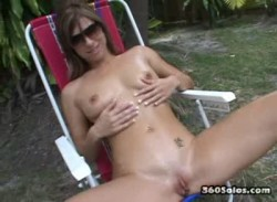 Petite Brunette Fucking Dildo Outside