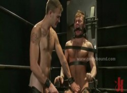 Sexy gay boys spanked then get eyes tied before sucking cocks and getting fucked in extreme bdsm
