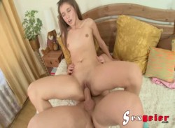 Teen Abelinda riding and blowing cock