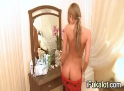 tight blondie before mirror