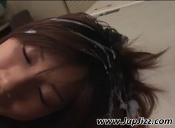 Asleep asian secretary gets hair cumshoted