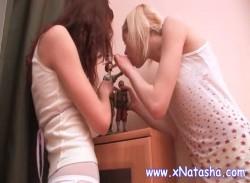 Lesbian teens strip and rub little pussies